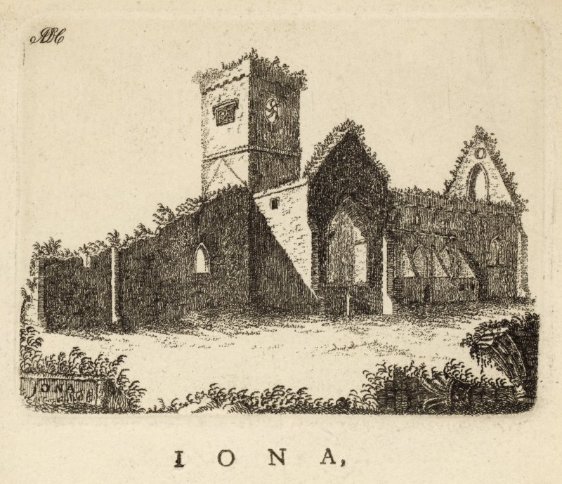 "Small engraving of Iona Abbey. titled 'Iona' adding 'or Icolmkill, is a small island, situated near the isle of Mull, in Argyleshire, famous for a Monastery founded by St Columba, who came from Ireland in the year 565; and, after converting the northern Picts, obtained this place, where he built the Monastery above mentioned, and was himself the first Abbot. The original inhabitants of this house were Conons [sic] Regular; but aterwards, upon the old cloisters being ruined by the frequent incursions of the Danes, and remaining depopulated for seven years, it became the residence of the Clunicenses. This view of the Cathedral is from the S.E.  By whom it was originally built is uncertain. According to Boethius, it was only rebuilt in the 7th century, by Maldivinus the 55th King of Scotland.' In the top left corner is the mongram ADC. [Adam de Cardonnell ""Picturesque Antiquities of Scotland 1788.""]"