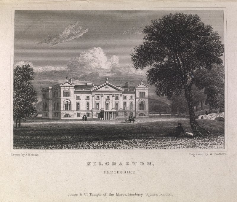 Engraving of Kilgraston House - front view from lawns. Titled 'Kilgraston, Perthshire. Jones & Co. Temple of the Muses, Finsbury Square, London. Drawn by J.P.Neale. Engraved by W. Faithorn.'