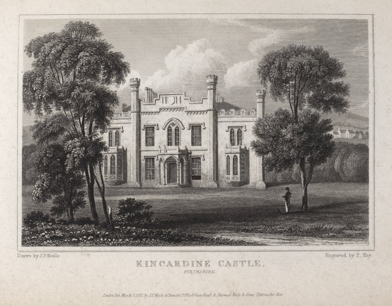 Engraving of Kincardine Castle showing main facade from the lawn. Titled 'Kincardine Castle, Perthshire. London. Pub. March 1 1820 by J.P.Neale, 16 Bennett St., Blackfriars Road, and Sherwood, Neely & ...