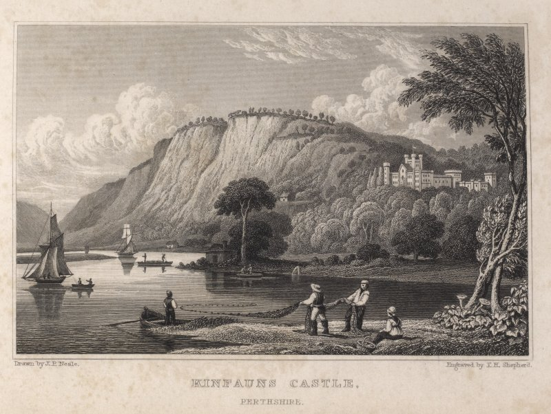 Engraving of Kinfauns Castle seen from river below, showing men hauling fishing nets. titled 'Kinfauns Castle, Perthshire. Drawn by J.P.Neale. Engraved by T.H. Shepherd.'