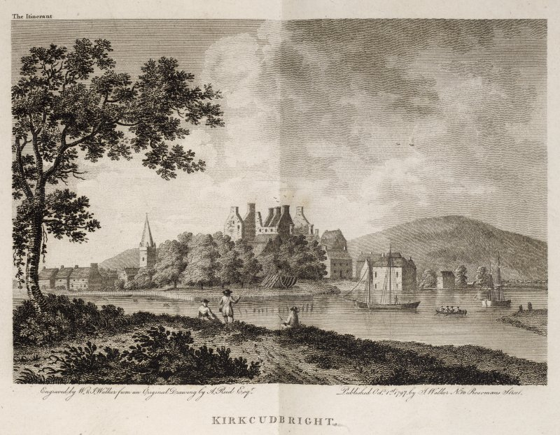 Kirkcudbright, engraving of general view showing harbour, castle, church and houses. Titled 'Kirkcudbright. Engraved by W. and J. Walker from an original drawing by A. Reid, Esq. Published Oct.1st, 17 ...