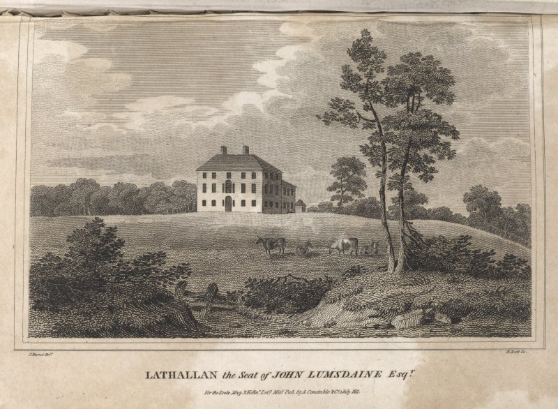 Lathallan, engraving showing general view from lawns. Titled 'Lathallan the seat of John Lumsdaine, Esqr. for the Scots Mag & Edinr. Lity. Misy. Pub. by A. Constable & Co, 1 July 1811. J. Burnett Delt. R. Scott. sculpt.