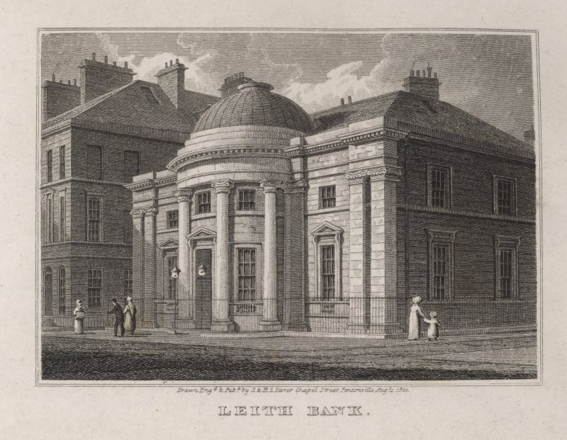 Leith, engraving showing Bank. Titled 'Leith Bank. Drawn, engd. and pubd. by J. and H. Storer, Chapel Street, Pentonville, Aug.1st, 1820.'