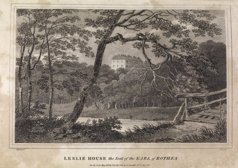 Engraving of Leslie House among trees. Titled 'Leslie House, seat of the Earl of Rothes, for the Scots Mag. and Edr. Litery. Miscy. Pub. by A. Constable & Co., 1 Aug. 1811. J. Burnet delt. R. Scott. sculpt.'