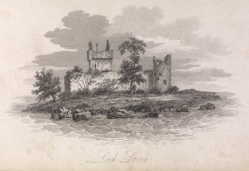 Engraving of Lochleven Castle. Titled 'Loch Leven.'