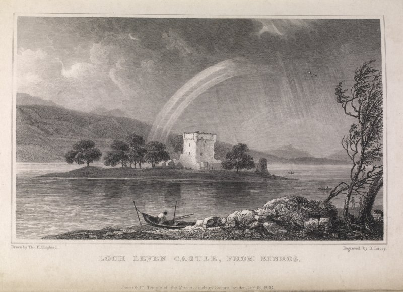 Engraving of Loch Leven Castle from Kinross. Titled 'Loch Leven Castle, from Kinros. Jones & Co. Temple of the Muses, Finsbury Square, London , Octr. 16, 1830. Drawn by Tho. H. Shepherd. Engraved by S. Lacey.'
