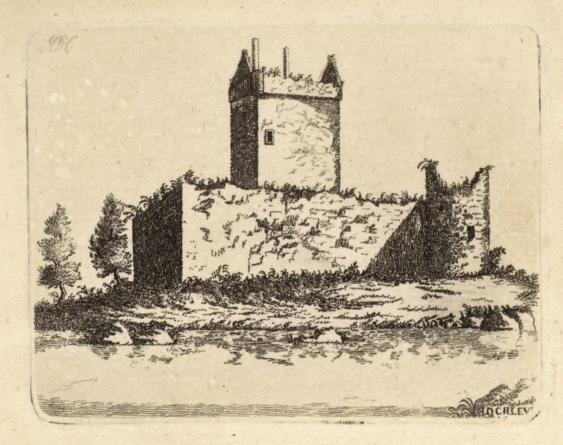 Engraving of Lochleven Castle showing a square centre tower & surrounding walls Titled 'Loch-Leven. The Castle, of which this View is given, is built on a small island, situated almost in the middle o ...