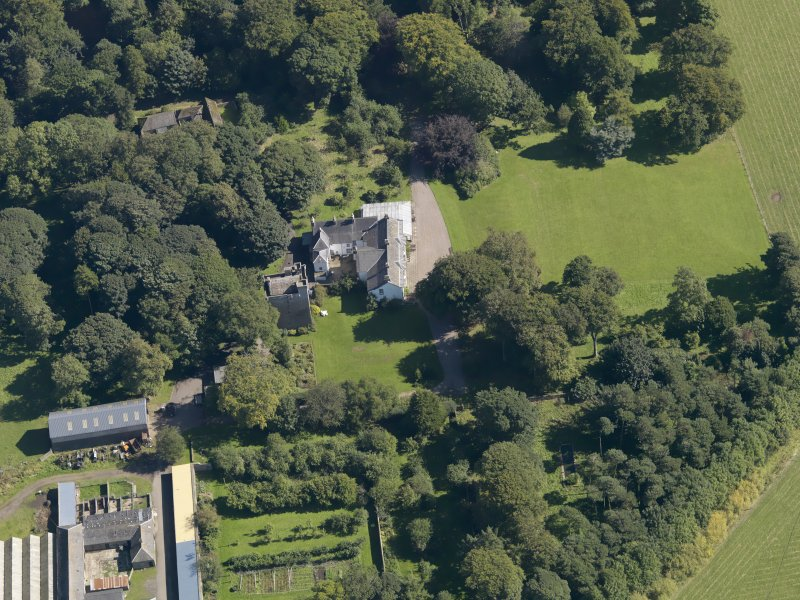 General oblique aerial view of the Affleck Estate, centred on the castle, taken from the W.
