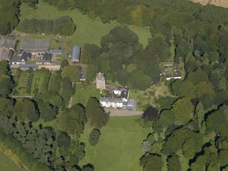 General oblique aerial view of the Affleck Estate, centred on the castle, taken from the S.