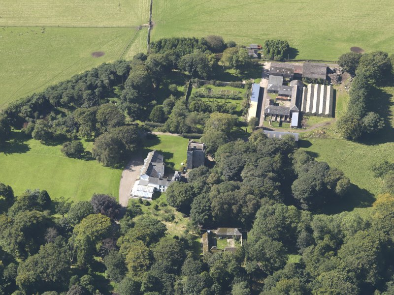 General oblique aerial view of the Affleck Estate, centred on the castle, taken from the E.