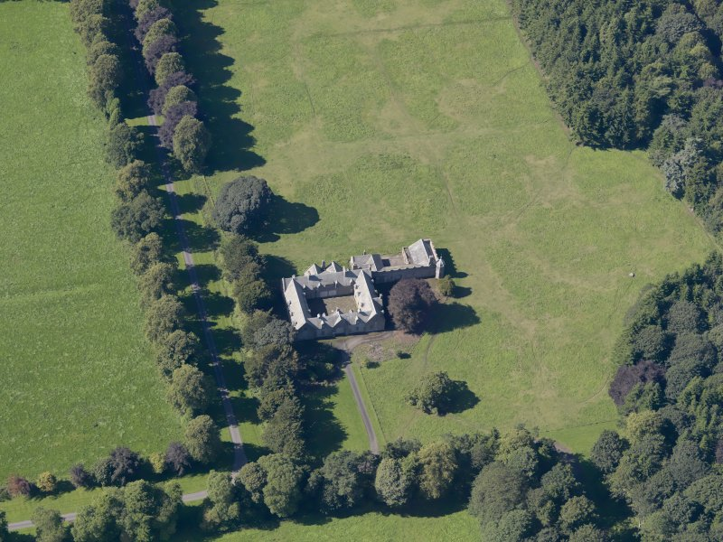 General oblique aerial view of the Panmure  Estate, centred on the house, taken from the E.