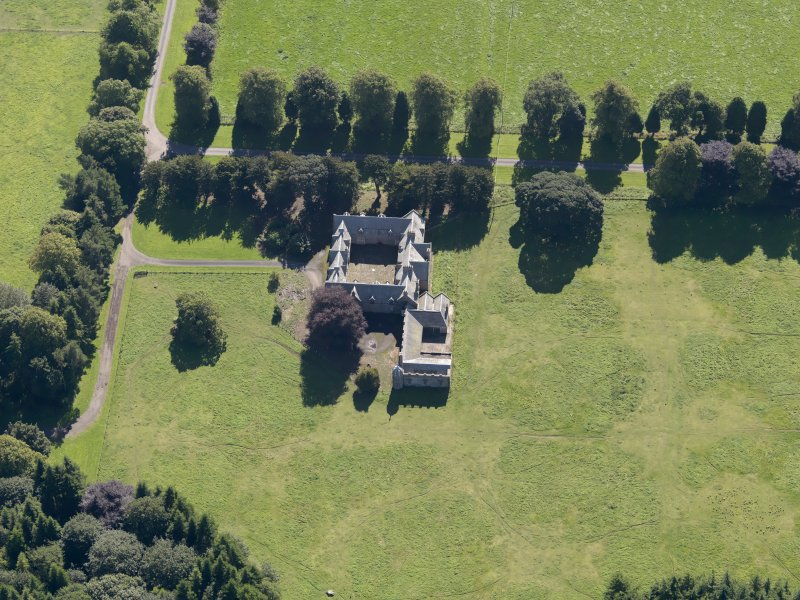 General oblique aerial view of the Panmure  Estate, centred on the house, taken from the NW.