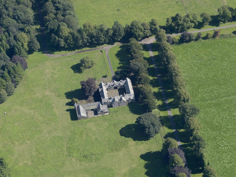 General oblique aerial view of the Panmure  Estate, centred on the house, taken from the W.