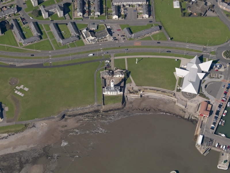 Oblique aerial view of the lighthouse, taken from the ESE.