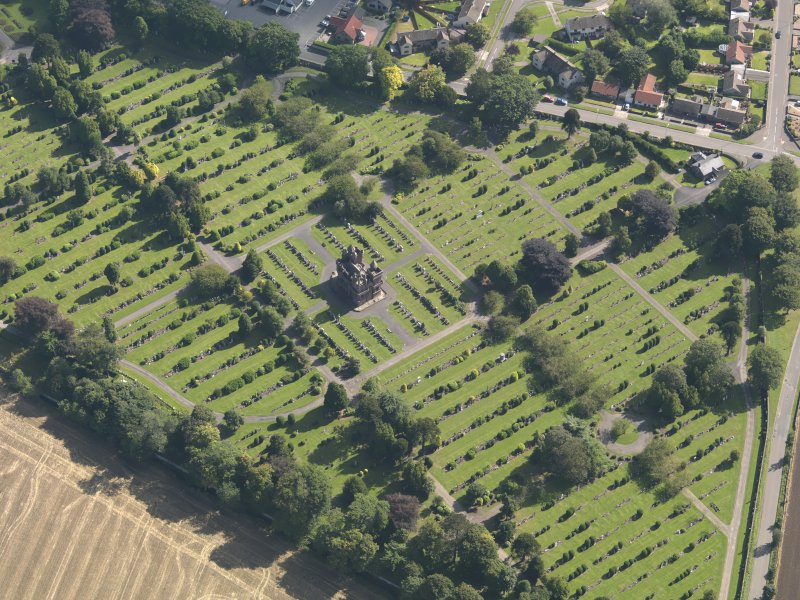 General oblique aerial view of the Western Cemetery, centred on the mortuary chapel, taken from the WNW.