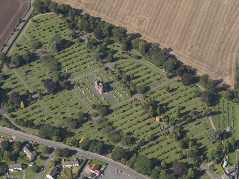 General oblique aerial view of the Western Cemetery, centred on the mortuary chapel, taken from the ESE.