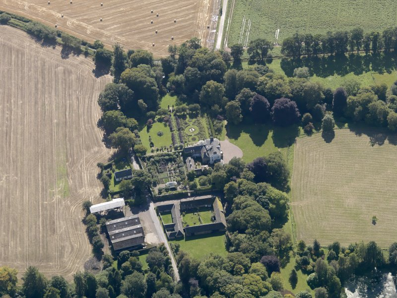 General oblique aerial view of the Pitmuies Estate, centred on  Pitmuies House, taken from the N.