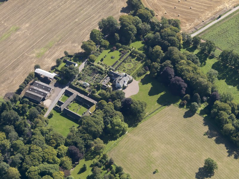 General oblique aerial view of the Pitmuies Estate, centred on  Pitmuies House, taken from the NNW.