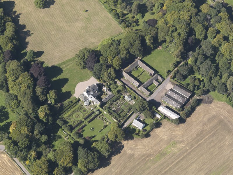 General oblique aerial view of the Pitmuies Estate, centred on  Pitmuies House, taken from the SE.