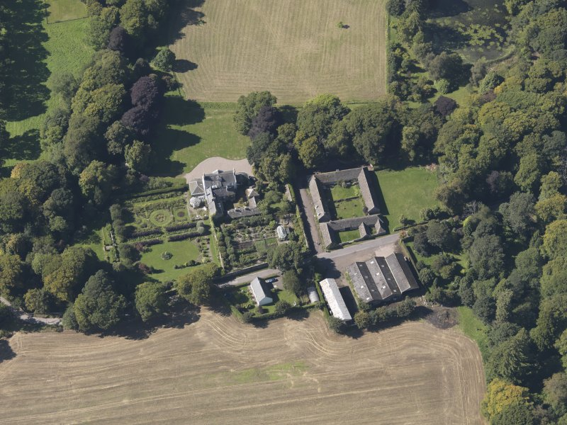 General oblique aerial view of the Pitmuies Estate, centred on  Pitmuies House, taken from the E.