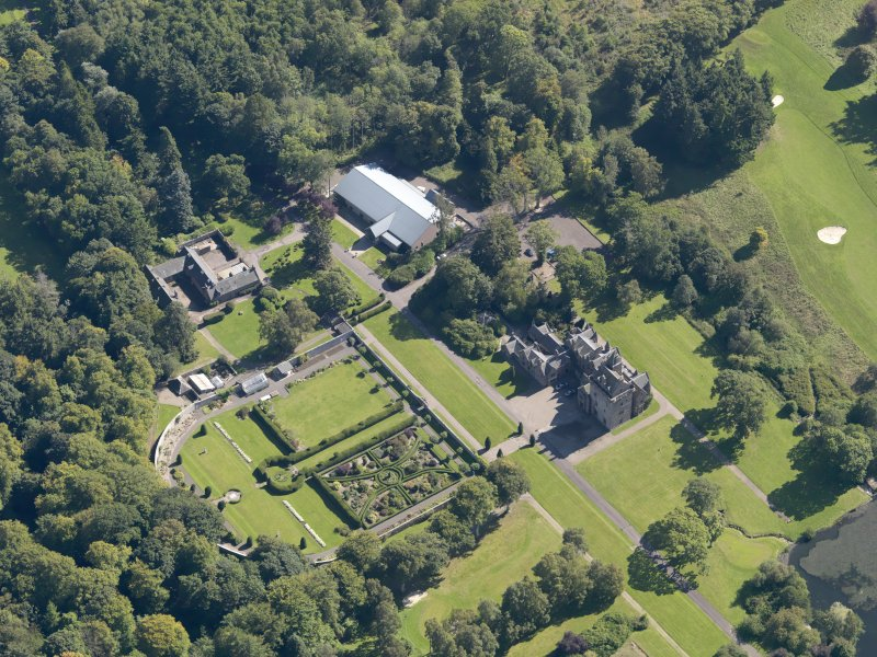 General oblique aerial view of the Guthrie Estate, centred on  Guthrie Castle, taken from the WNW.