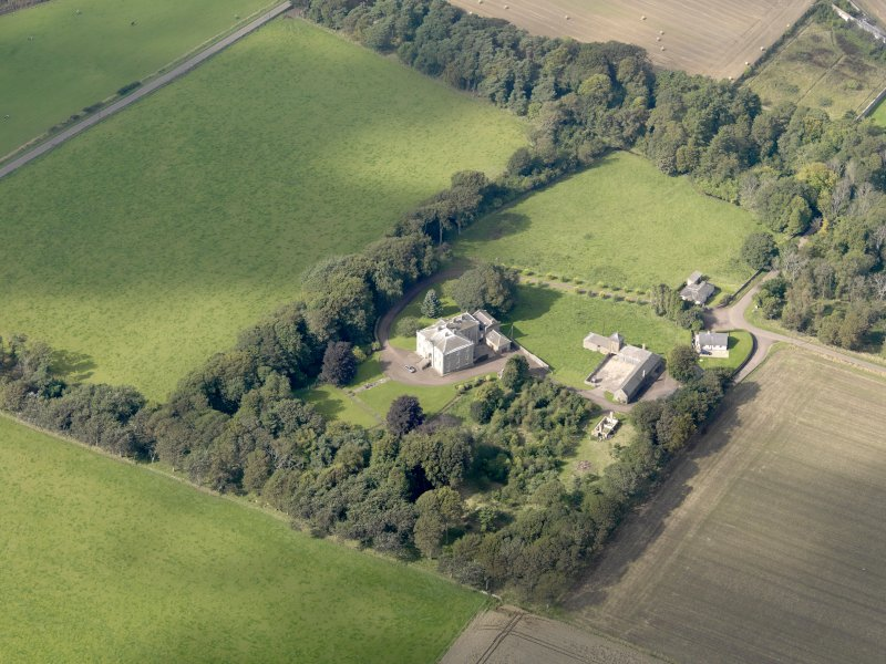 General oblique aerial view of the Usan estate, centred on Usan House, taken from the SE.