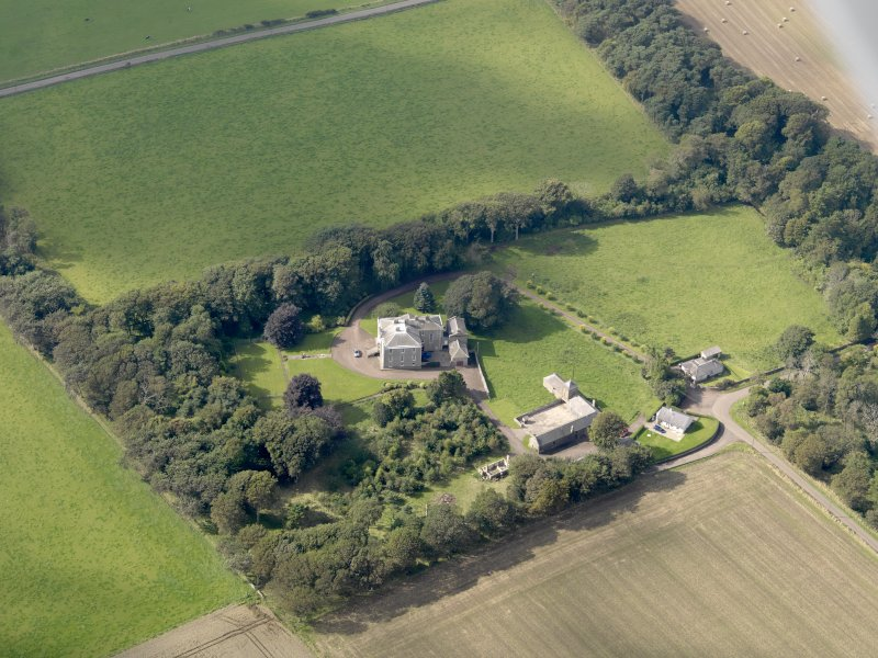 General oblique aerial view of the Usan estate, centred on Usan House, taken from the ESE.
