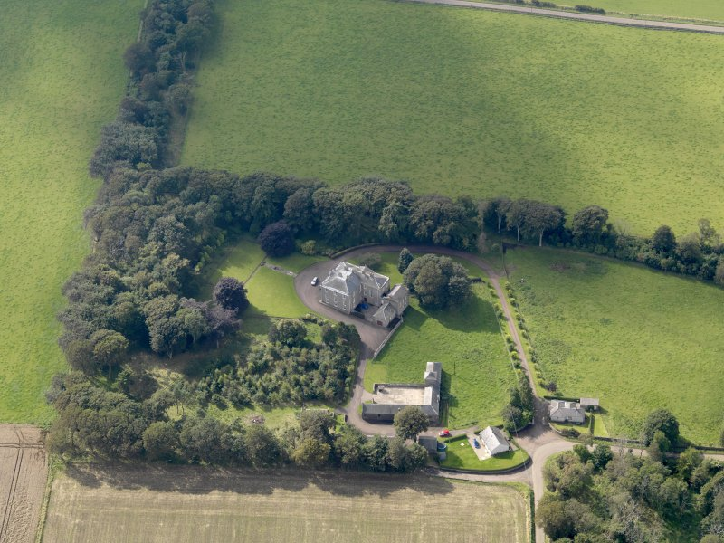 General oblique aerial view of the Usan estate, centred on Usan House, taken from the ENE.