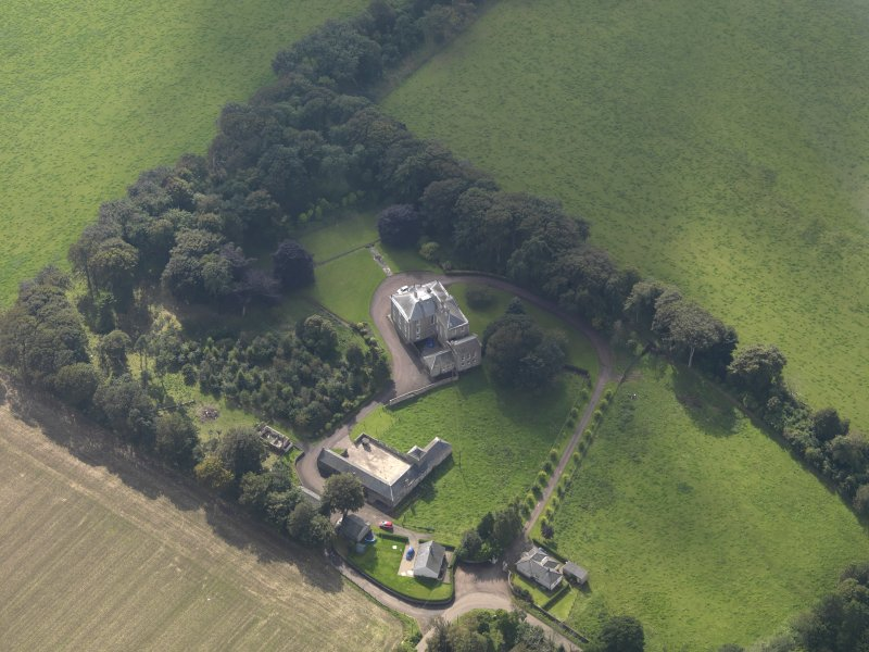 General oblique aerial view of the Usan estate, centred on Usan House, taken from the NE.