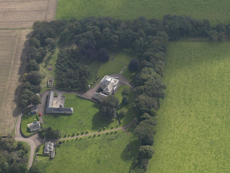 General oblique aerial view of the Usan estate, centred on Usan House, taken from the WNW.
