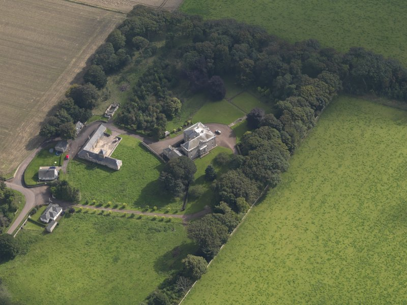 General oblique aerial view of the Usan estate, centred on Usan House, taken from the NW.