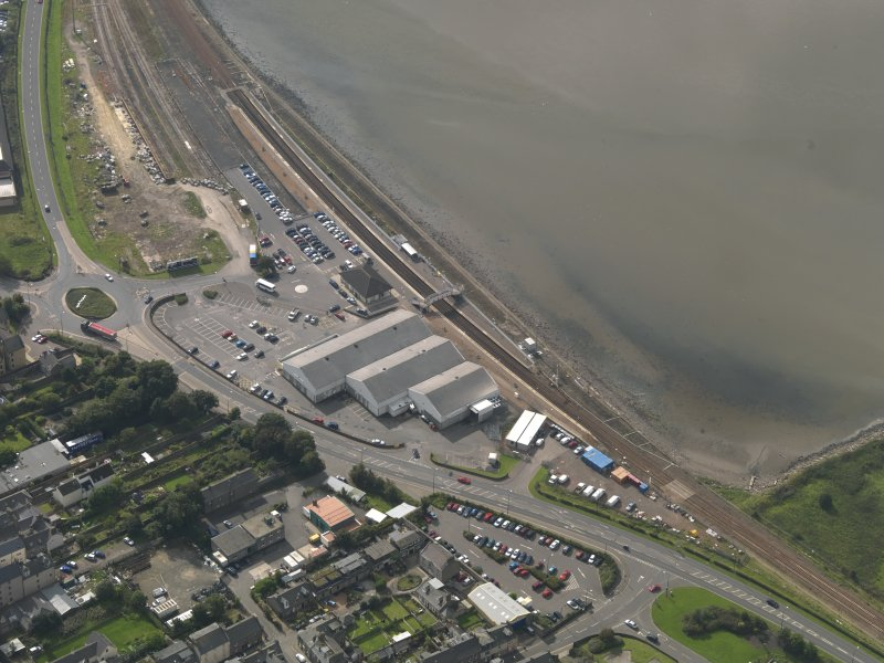 Oblique aerial view of Montrose railway station, taken from the NE.