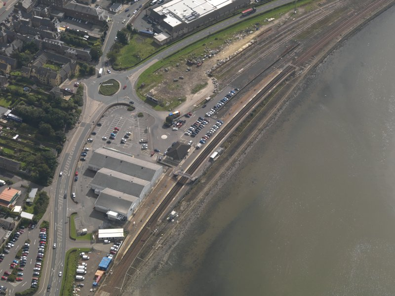 Oblique aerial view of Montrose railway station, taken from the NNW.