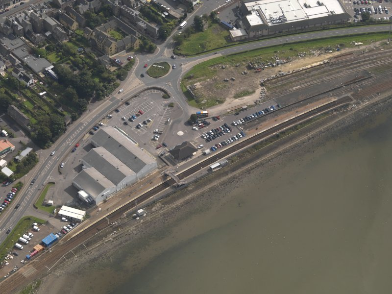 Oblique aerial view of Montrose railway station, taken from the NW.