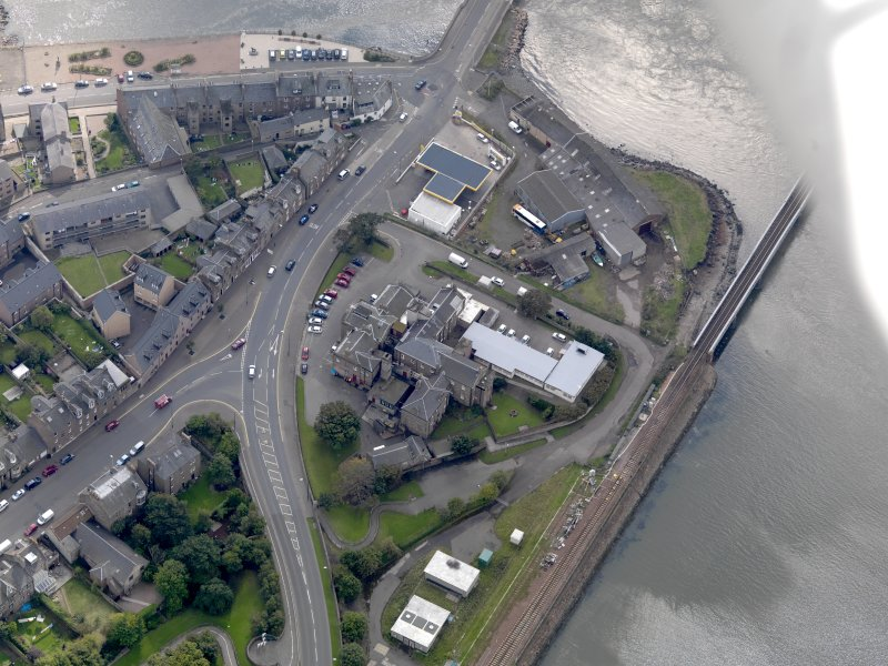 Oblique aerial view of Montrose Royal Infirmary, taken from the ENE.