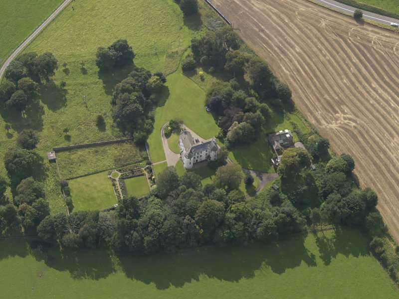Oblique aerial view of Kinnaber House, taken from the NNE.