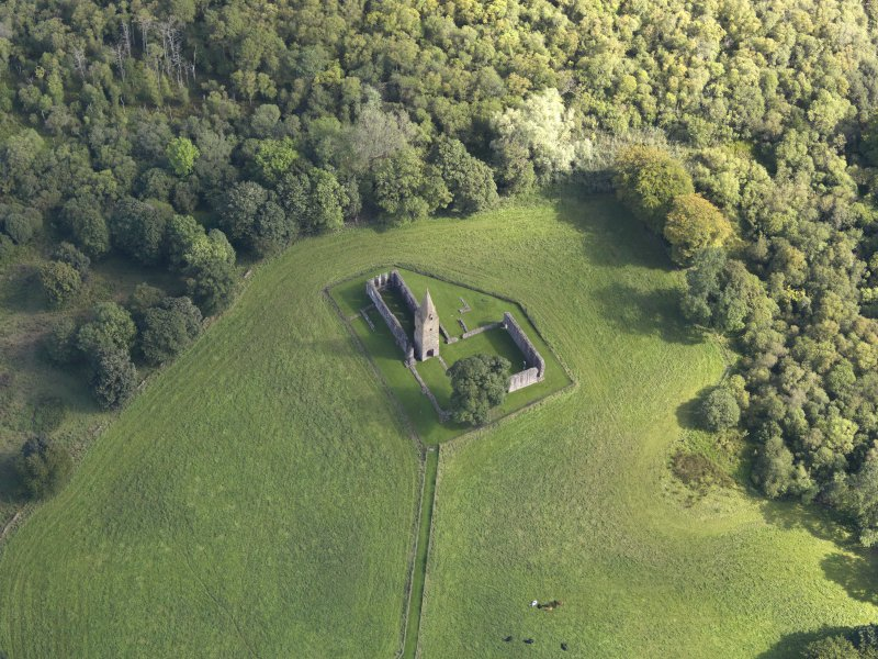 Oblique aerial view of Restenneth Priory, taken from the WNW.