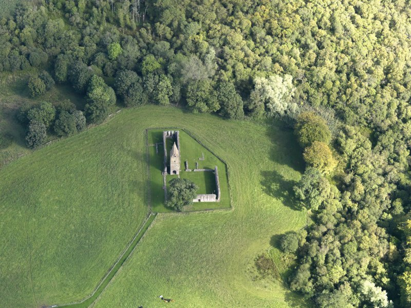 Oblique aerial view of Restenneth Priory, taken from the W.