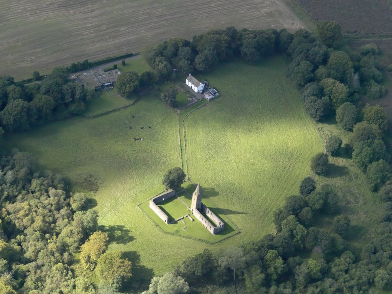 Oblique aerial view of Restenneth Priory, taken from the SE.
