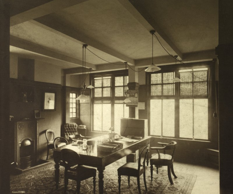 View of office, almost certainly in Lion Chambers, Glasgow. Signed 'Annan 6.280'.