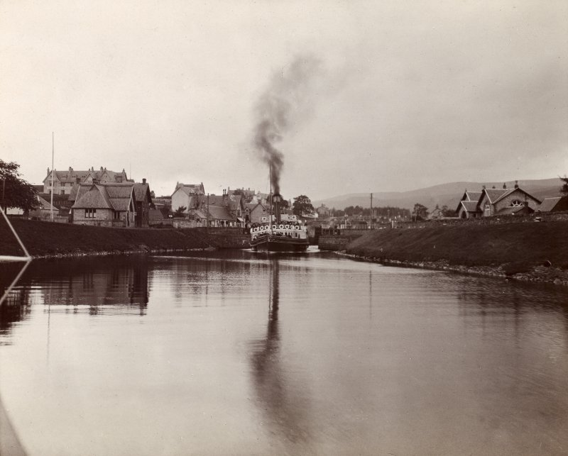 View of a steamer in the Caledonian Canal at Fort Augustus swing bridge, taken from the E.