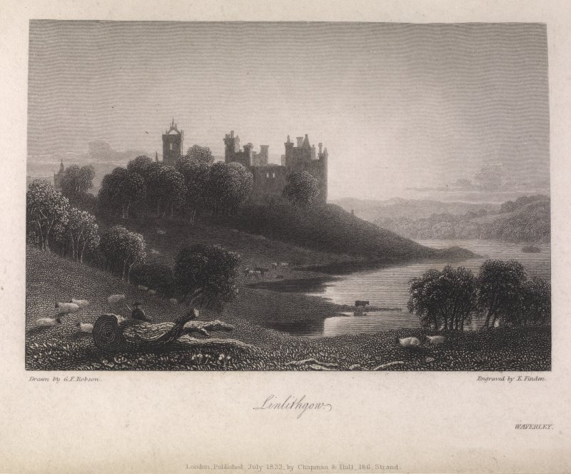 Engraving of Linlithgow Palace from the shore. Titled 'Linlithgow. London, July 1832, by Chapman & Hall, 186 Strand. Waverley. Drawn by G. F. Robson. Engraved by E. Finden.'