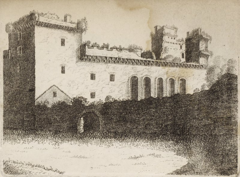 Engraving from southwest of part of the front of Linlithgow Palace showing five arched windows of the chapel. Titled 'Linlithgow, Plate 1.