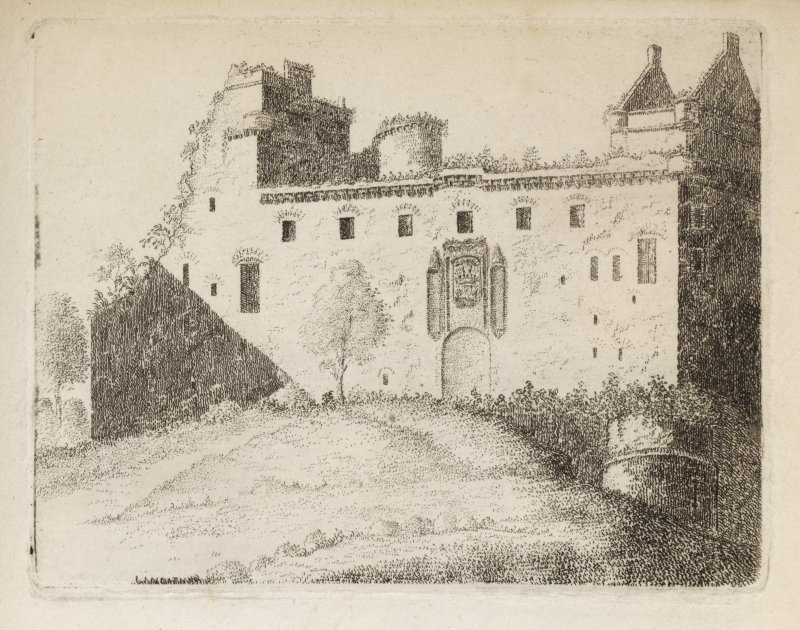 "Engraving from northeast of Linlithgow Palace showing old entrance front. Titled 'Linlithgow. Plate II. The lake, which is a mile long, and a quarter of a mile broad, is well furnished with pikes, perches and eels. This Palace was the favourite residence of King James V. The greatest part of this building was in repair till the year 1746, when having been accidentally set on fire by the King's troops who were then in it, was totally consumed, and never since repaired. This second View fron the N.E. gives the ancient door of entrance to a room or hall near 100 feet long, where the Parliament of Scotland sometimes met. The sculpture is very beautiful. The old building, consisting of a round tower and part of a wall, are the remains of the Castle, or Palace. Taken in 1789.' [Adam de Cardonnell ""Picturesque Antiquities of Scotland.""]"