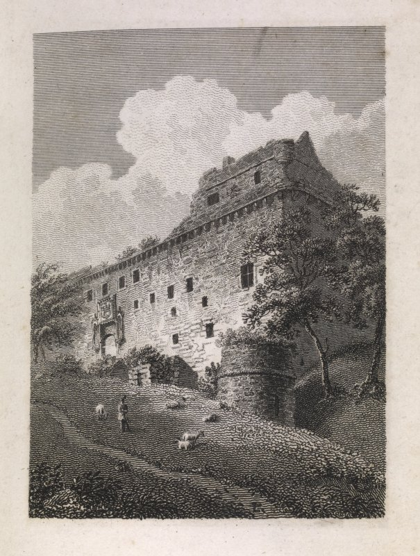 Engraving of oblique view of Linlithgow Palace entrance front with round tower remains of older castle    in foreground. Titled (in pencil) 'Linlithgow.'