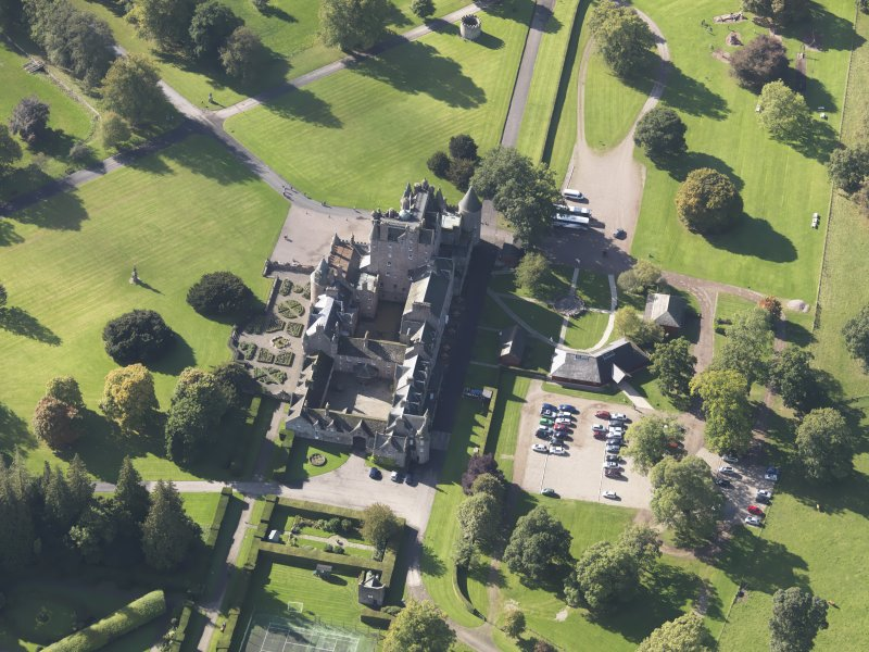 Oblique aerial view of Glamis Castle, taken from the NE.