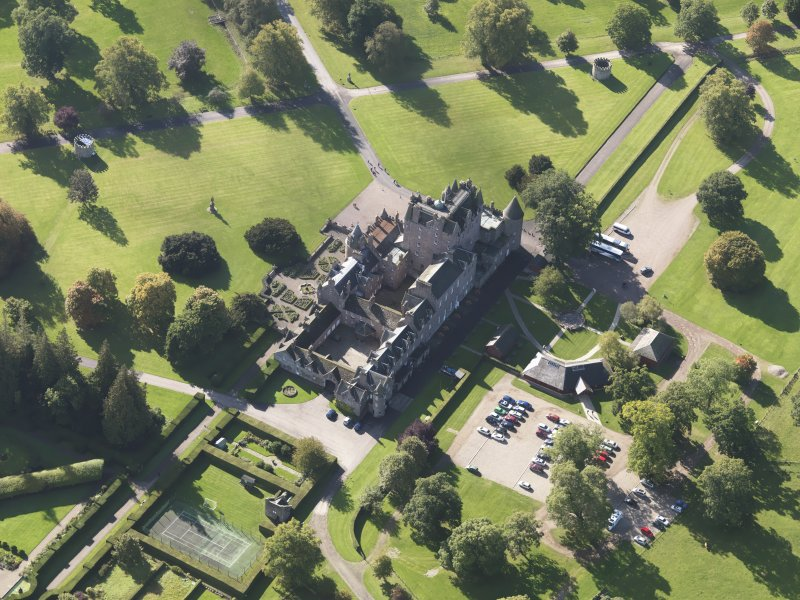 Oblique aerial view of Glamis Castle, taken from the NNE.