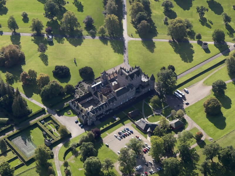 Oblique aerial view of Glamis Castle, taken from the N.