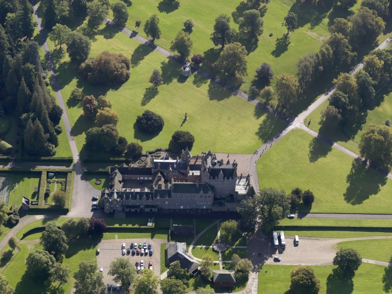 Oblique aerial view of Glamis Castle, taken from the NNW.