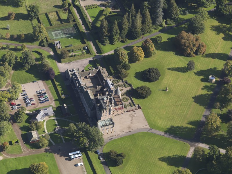Oblique aerial view of Glamis Castle, taken from the WSW.